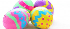 children paint colorful easter egg
